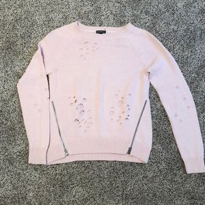 Distressed pink sweater